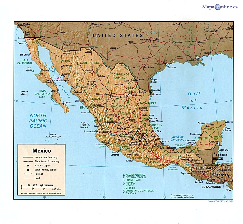 Mapa Mexika Mapaonline Cz