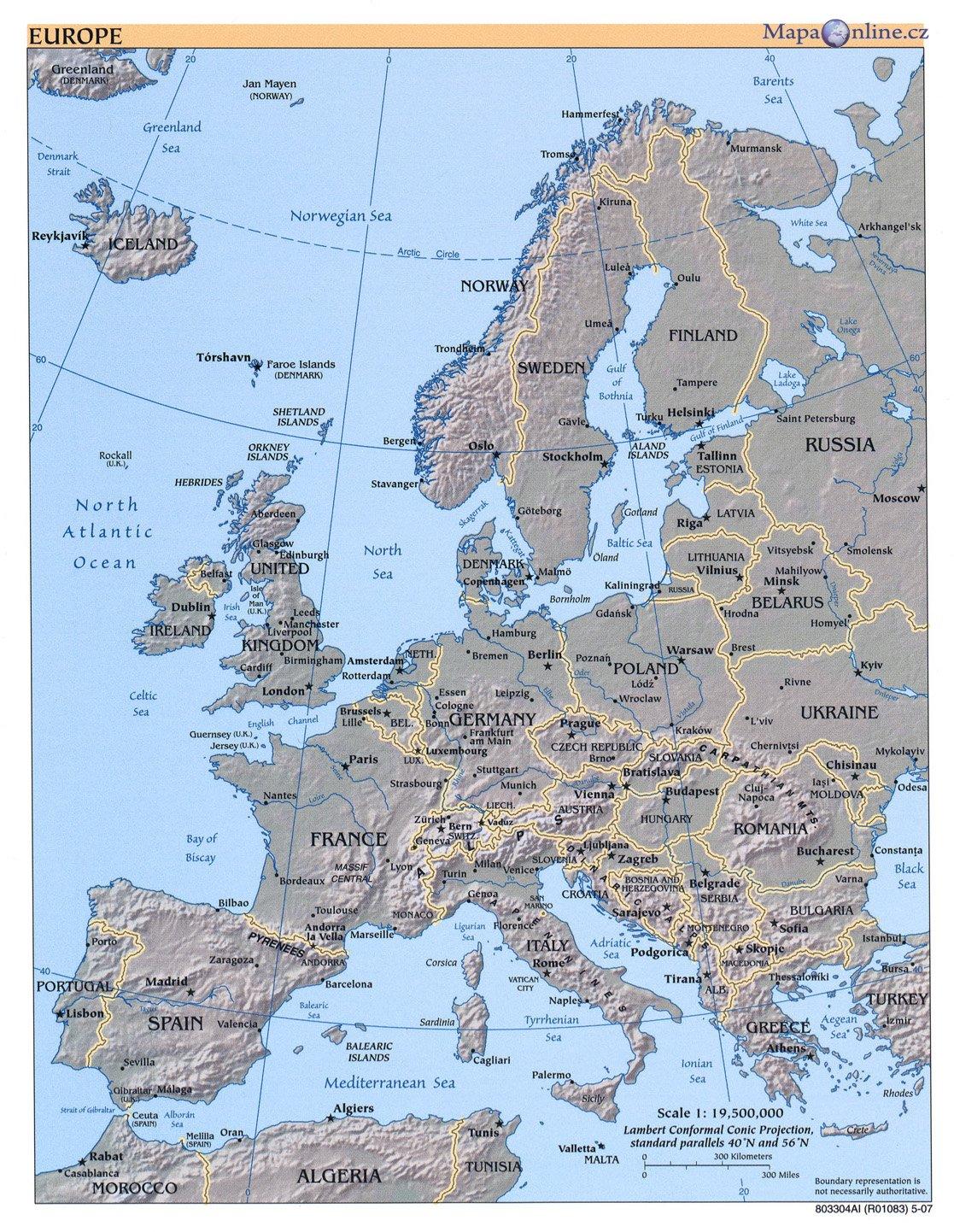 Mapa Evropy Mapaonline Cz