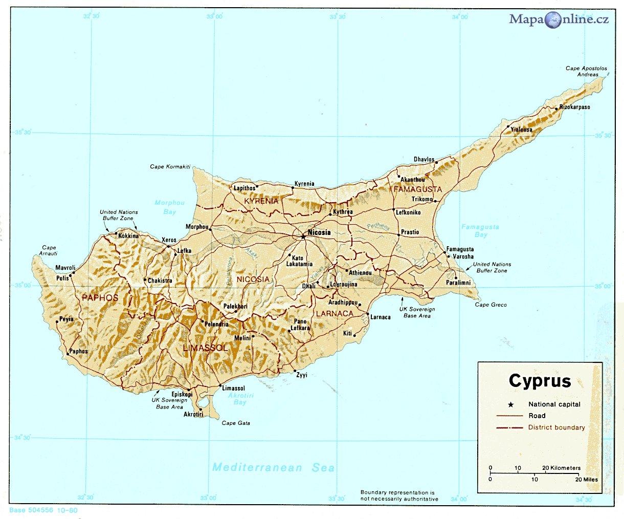 Mapa Kypru Mapaonline Cz