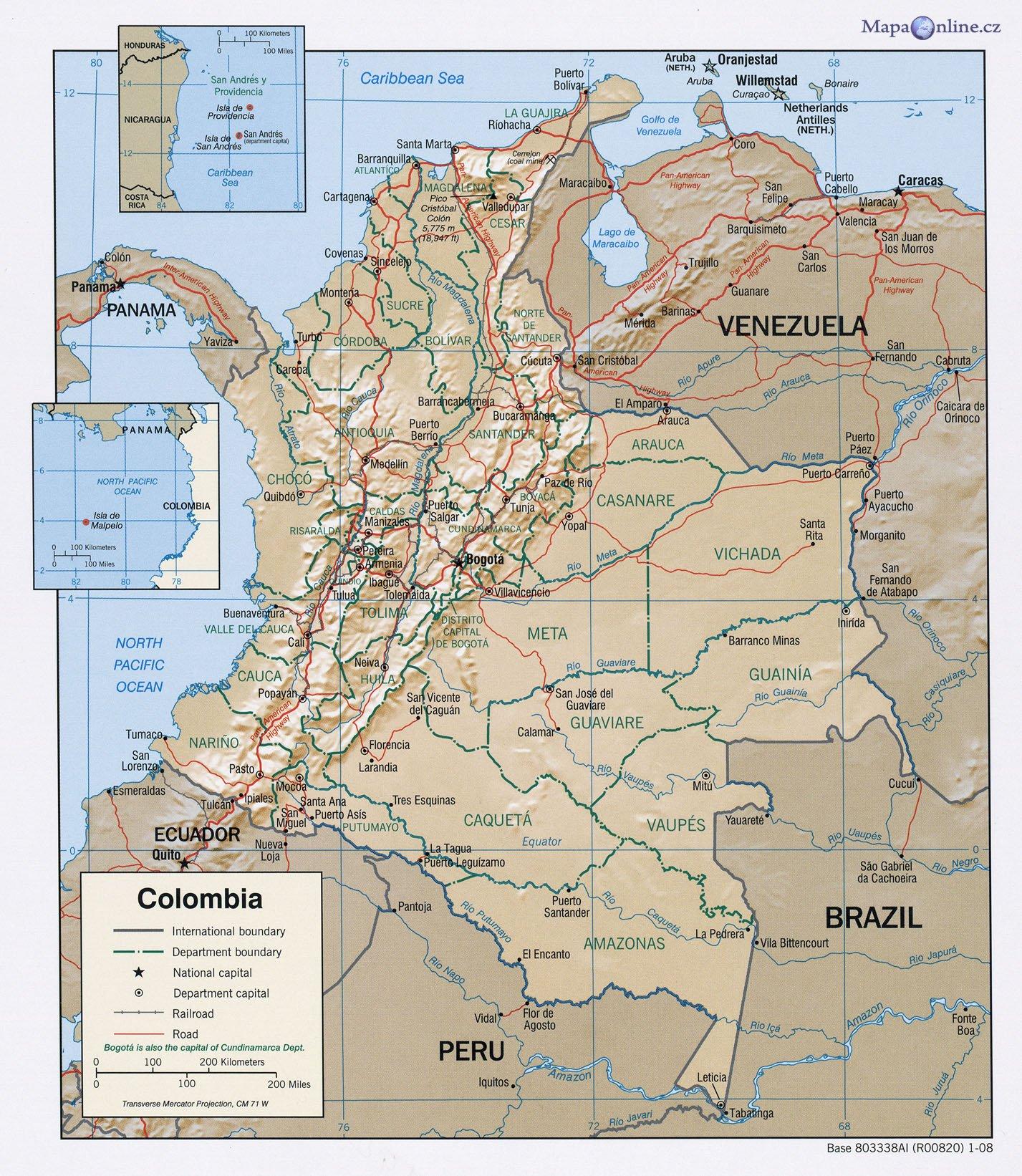 Mapa Kolumbie Mapaonline Cz