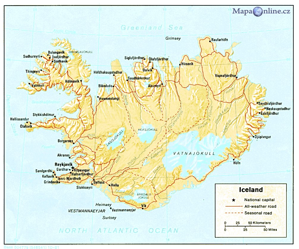 island mapa Mapa Islandu   MapaOnline.cz island mapa