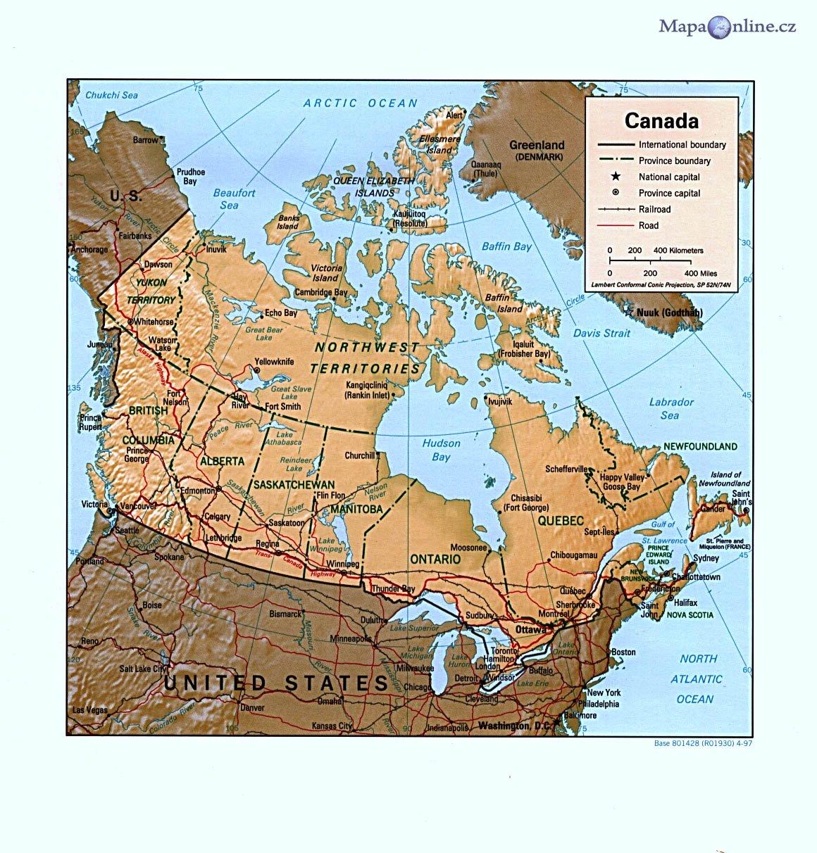 Mapa Kanady Mapaonline Cz