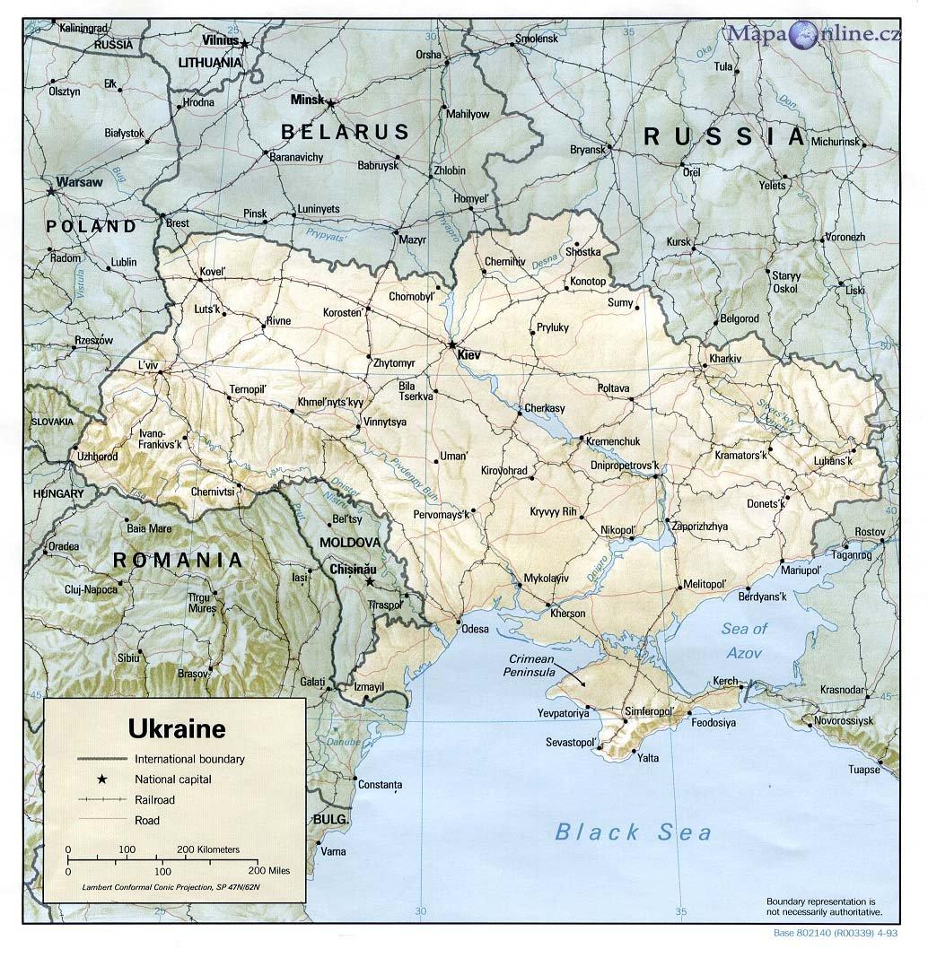 ukrajina mapa Mapa Ukrajiny   MapaOnline.cz ukrajina mapa