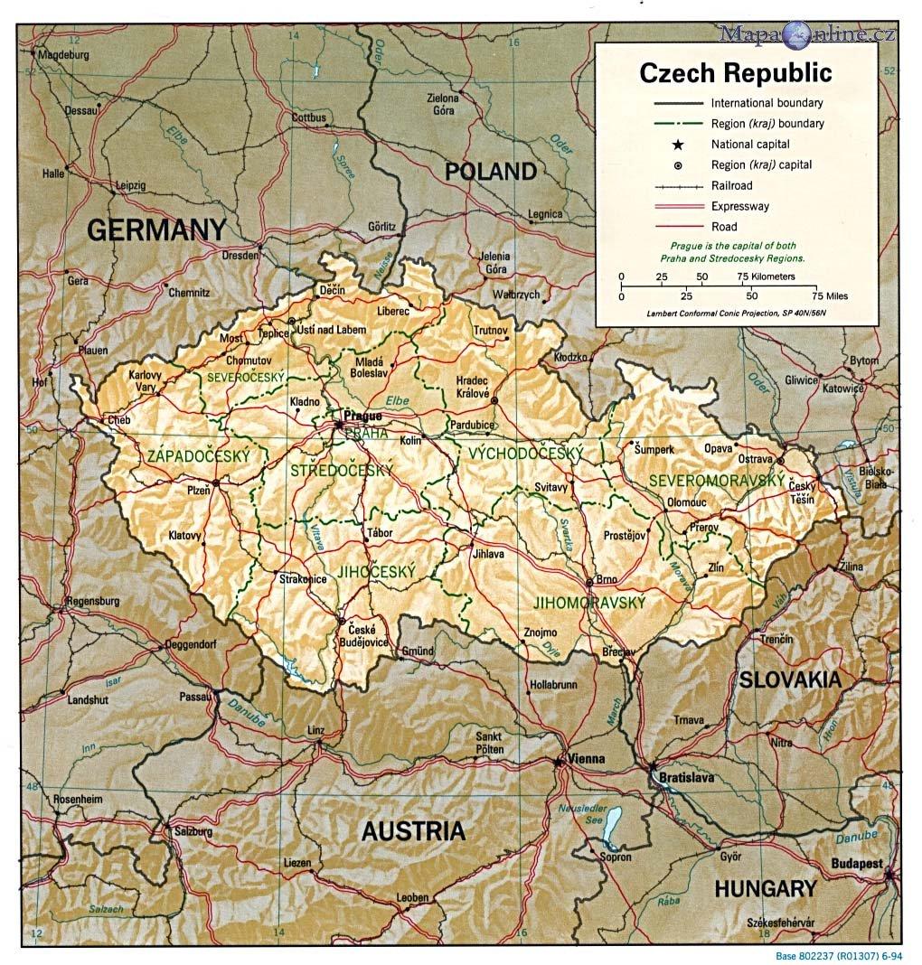 Mapa Cr Ceske Republiky Mapaonline Cz