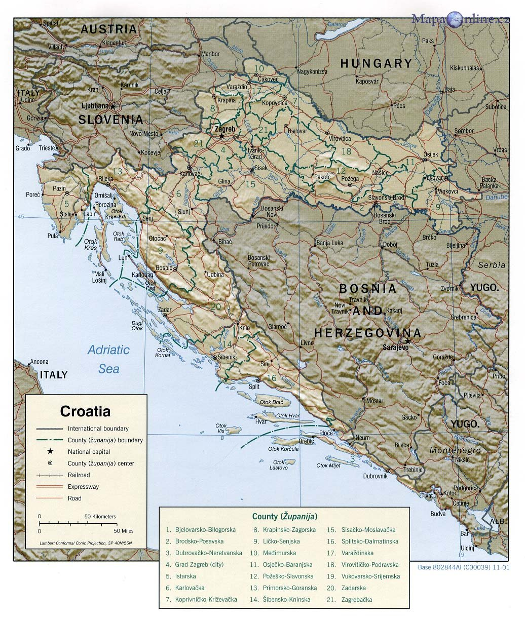 Mapa Chorvatska Mapaonline Cz