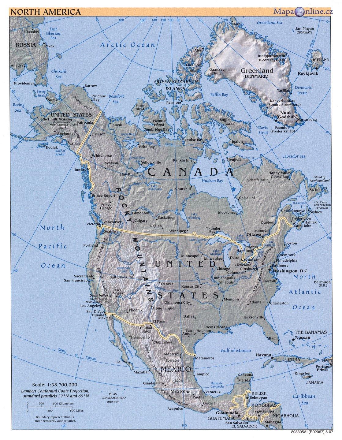 Mapa Mapa Severni Ameriky
