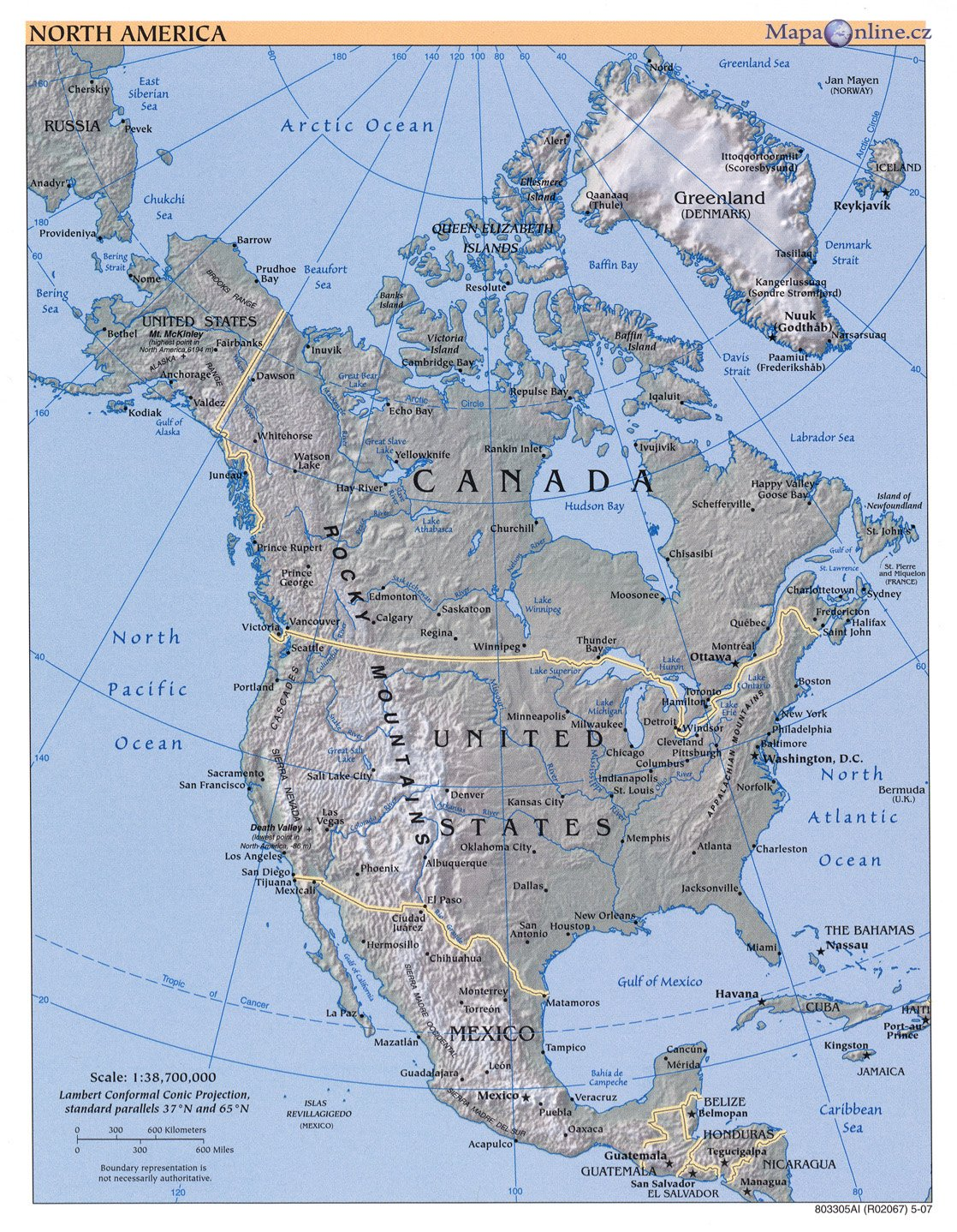Mapa Severni Ameriky Mapaonline Cz