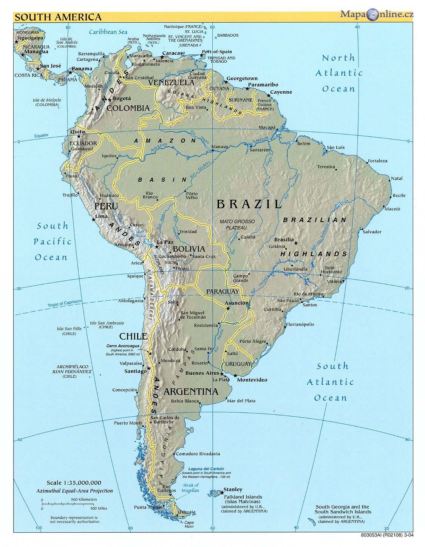 Mapa Jizni Ameriky Mapaonline Cz
