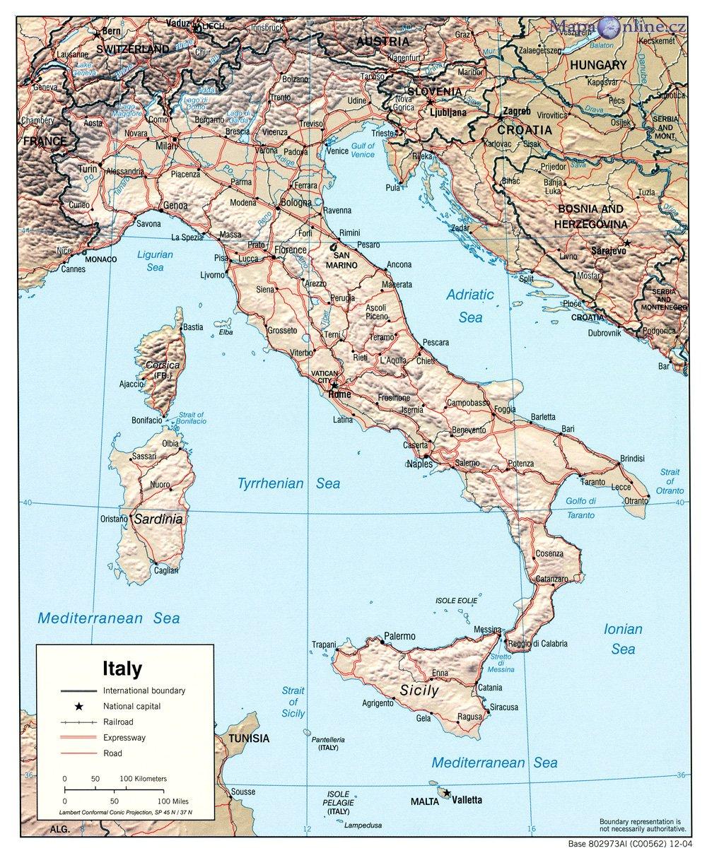 Mapa Italie Mapaonline Cz