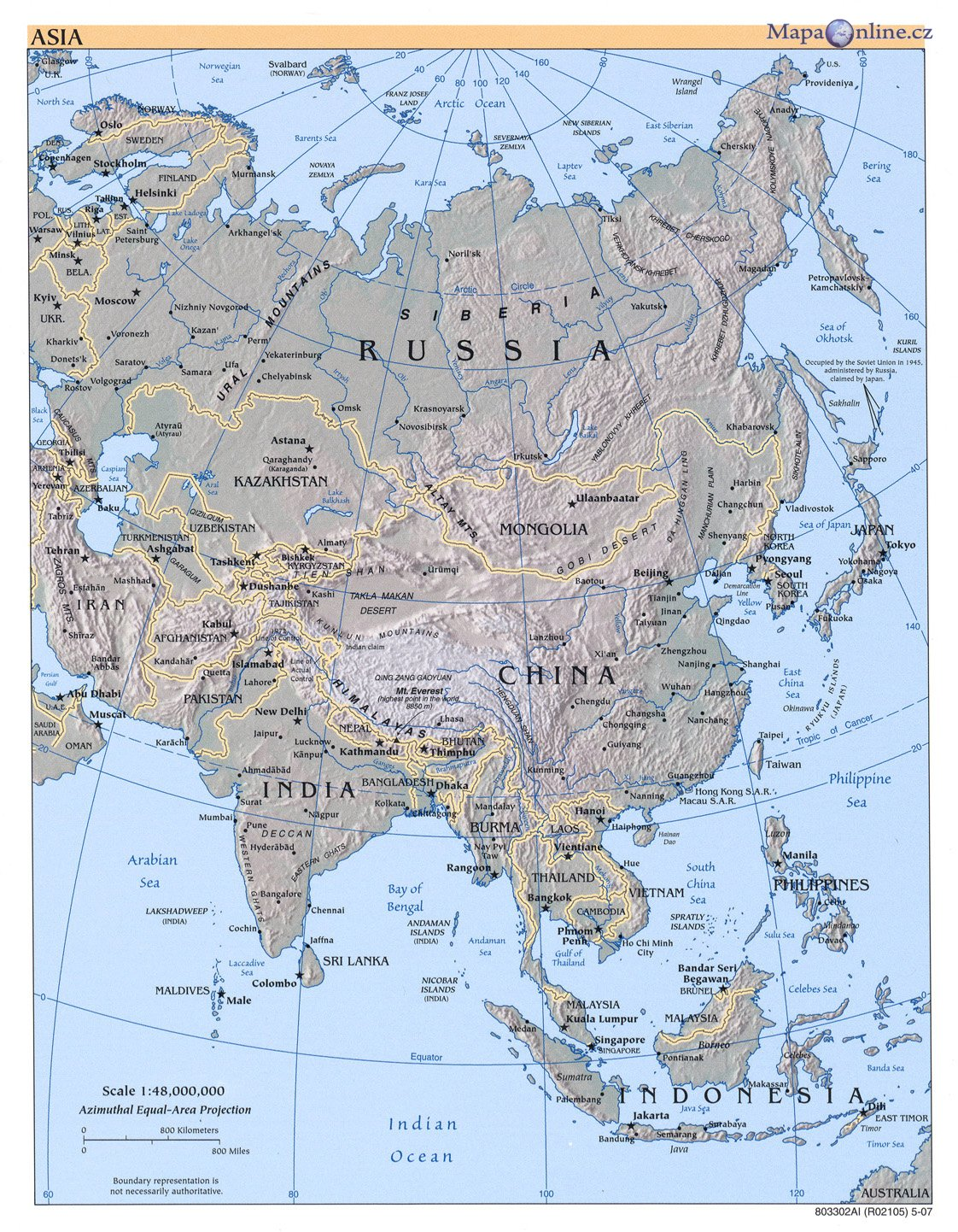 Mapa Asie Mapaonline Cz