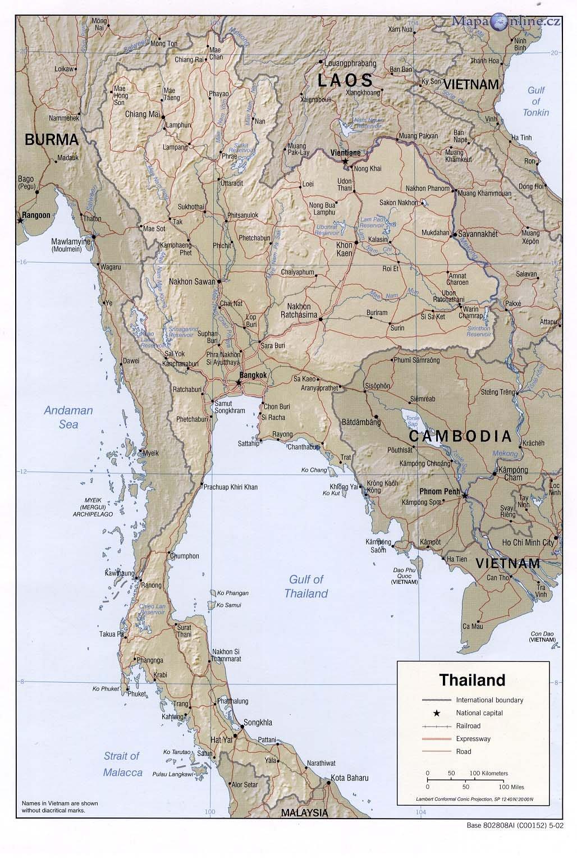 Mapa Thajska Mapaonline Cz
