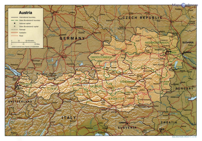 Mapa Rakouska Mapaonline Cz
