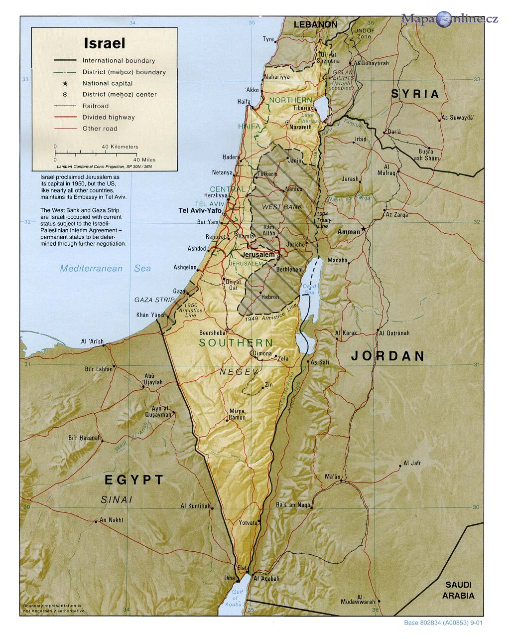 Mapa Izraele Mapaonline Cz